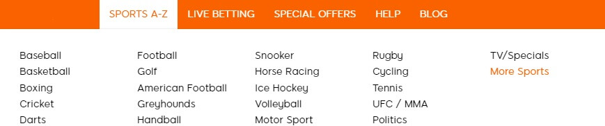 Variety of Sports Markets at 888sport