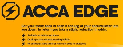 With ACCA EDGE your bet can be refunded right away.