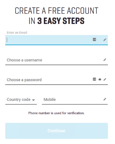 Create an account in just 3 simple steps.