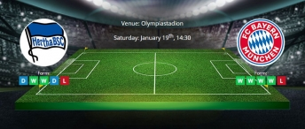 Tips for Herta Berlin vs Bayern Munich on 19 January 2020 - Bundesliga