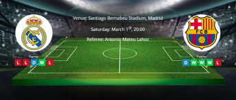 Tips for Real Madrid vs Barcelona on 01 March 2020 - League