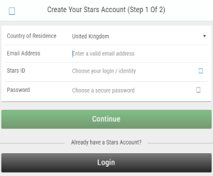 Making a registration at Betstars is quite straightforward.